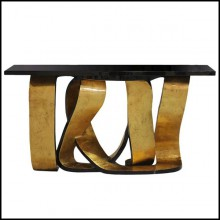 Console table with top in black lacquered wood veneered and gold finish base 156-Tie Gold