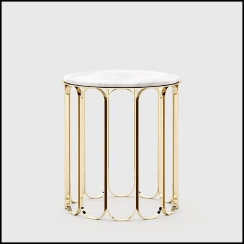 Console avec plateau en bois plaqué laqué noir et base finition Gold 156-Tie Gold