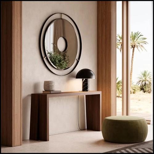 Table d'appoint avec base en céramique bleue fabriquée à la main 30-Blue Ceramic