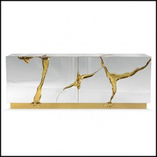 Sideboard with wood carving structure with its details finished in polished solid brass in gold finish 145-Paradise