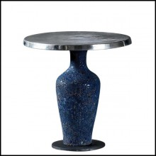 Low center table with handcrafted blue ceramic base 30-Blue Ceramic
