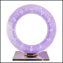 Clock made with pure Baccarat crystal glass sanded paste with led diodes inside PC-Blue Baccarat
