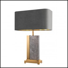 Table lamp with structure in antique brass finish and grey marble 24-Grey marble