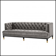 Sofa with structure in solid wood upholstered with Roche porpoise grey or Savona midnight blue velvet 24-Karen