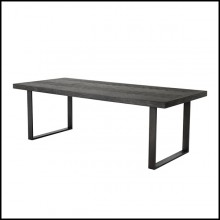 Dining table with structure in oak veneer in charcoal finish and base in stainless steel with bronze finish 24-Baltazar