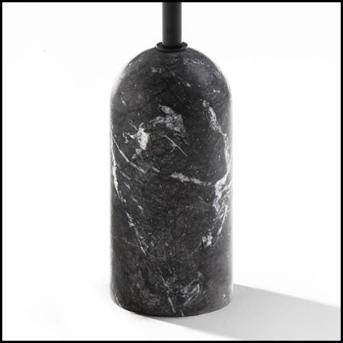 Table de repas avec structure en placage de chêne finition charbon et piétements en acier inoxydable finition bronze 24-Baltazar
