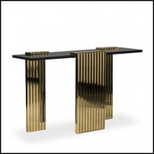 Console table with 3 feet base in gold plated solid polished brass and black marble top 164-Oldies