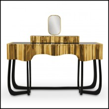 Console Table coated with solid polished brass and Mirror with Gold Plated Edge 169-Curvy Room
