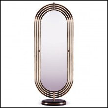 Floor mirror with polished brass tubular frame structure and Led light system 169-Brass Tubular