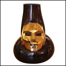 Vase made with hand blown black glass and with mask in bronze with gold finish 104-Venise Mask