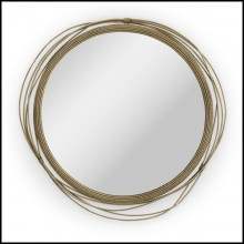 Mirror with vintage brass frame structure and mirror glass 155-Brass Knot
