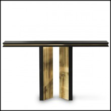 Console table with wooden black lacquered structure and with gold plated solid polished brass 164-Maxima
