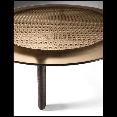 Console avec structure en bois laqué noir et laiton massif poli plaqué Gold 164-Maxima