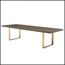 Dining table with structure in brown oak veneer finish and base in stainless steel with brushed brass finish 24-Baltazar
