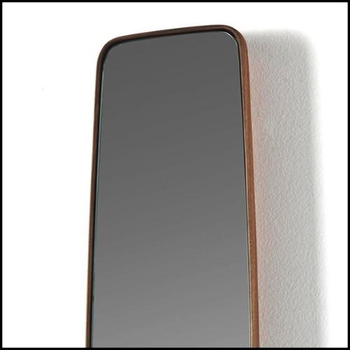 Table avec structure en chêne marron et piétement en acier inoxydable finition laiton brossé 24-Baltazar