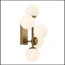 Wall Lamp in antique brass finish and white glass 24-Exo