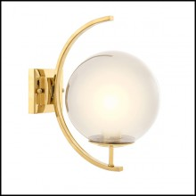 Wall Lamp with structure in stainless steel in gold or nickel finish and with smoke glass 24-Moon