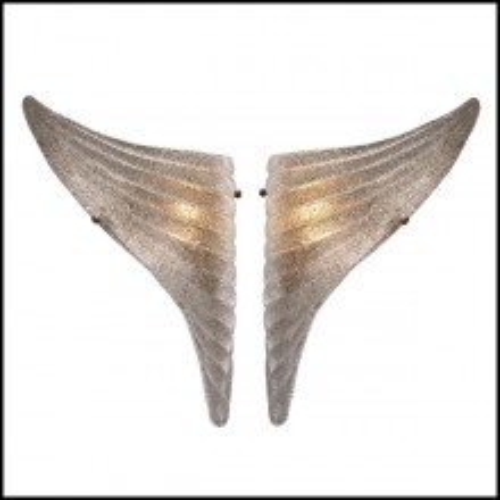 Set de deux appliques avec structure en laiton antique et verre soufflé à la main 24-Glasses Wings