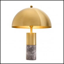 Table Lamp with structure in brass finish and grey marble 24-Coupole