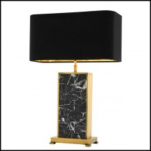 Table lamp with frame structure in antique brass finish and black marble 24-Flat Marble