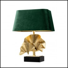 Table lamp with structure in brass polished finish and black granite base 24-Ginko Medium