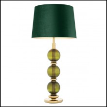 Table lamp with structure in gold finish and hand blown green glass 24-Green Glass