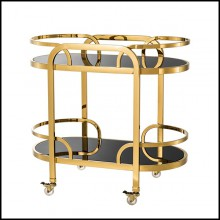 Trolley with structure in stainless steel gold finish and trays black glass 24-Peninsula