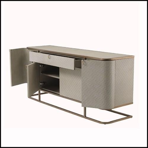 Dessert avec structure en acier inoxydable finition Gold et plateaux en verre noir 24-Peninsula
