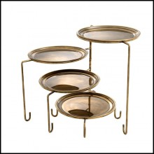 Serviteur avec structure en acier inoxydable finition nickel ou laiton vintage 24-Stand