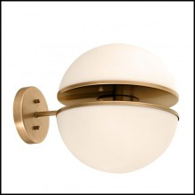 Wall Lamp with structure in antique brass finish and white glass 24-Sphericals