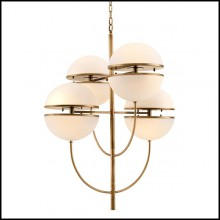 Lustre avec structure finition laiton antique et verre blanc 24-Chandelier Sphericals