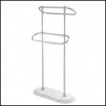 Towel rack with structure in polished stainless steel and white marble base 24-Nelly S