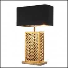 Table lamp with structure in vintage brass finish and black velvet lampshade 24-Opera squared