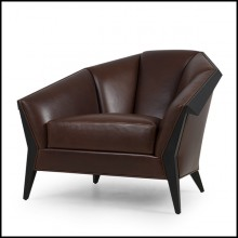 Armchair with structure in solid wood upholstered with natural genuine leather in brown color 119-Main Office