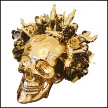 Sculpture skull made in marble dust resin and chromed in gold finish PC-Skull Golden Youth