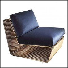 Armchair upholstered and coated with high quality blue velvet fabric in Categorie A 150-Alina