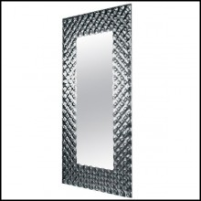 Mirror with high temperature fused glass 6mm thickness and in back silvered finish 146-Glass Pearl