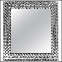 Mirror with high temperature fused glass 6mm thickness and in back silvered finish 146-Glass Pearl Square