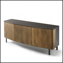 Sideboard with structure in lacquered wood and doors in curved acid-etched glass in gold brown finish 146-Flat Glass