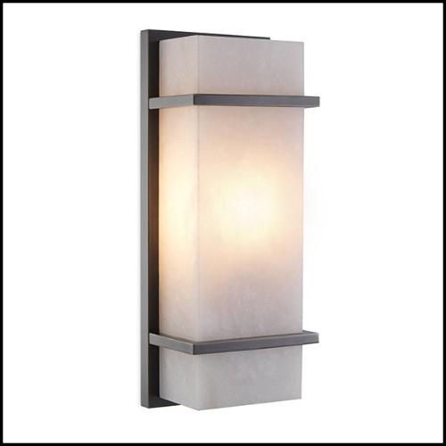 Table basse avec plateau en verre clair ou fumé et base en titane ou métal forgé ou nickel noir brillant 146-Lines Glass Top