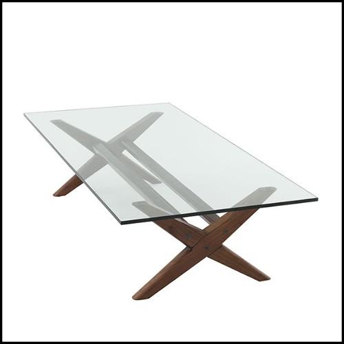 Table d'appoint avec base et structure en bronze massif et plateau recouvert de cuir véritable naturel ou en marbre 150-Transfer