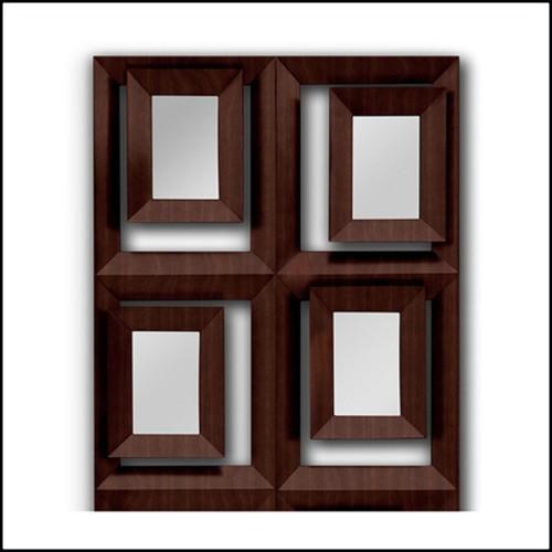 Table de repas avec plateau et structure en bois laqué noir et bordures en laiton massif poli et plaqué Gold 164-Maxima