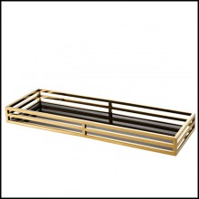 Tray with structure in stainless steel with gold finish and black mirror glass 24-Fencing Tray