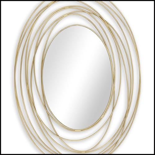 Plateau avec structure en acier inoxydable finition Gold et verre miroir noir 24-Fencing Tray