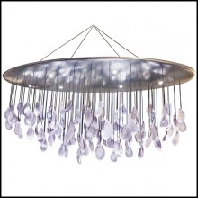 Suspension with top in steel hand-painted with silver leaf and pendants in crystal baccarat glass PC-Baccarat Rain
