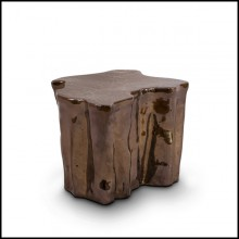 Table d'appoint en céramique marron artisanale 145-Ceramic Brown
