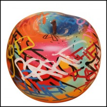 Sculpture in handcrafted ceramic PC-Apple Graffiti A