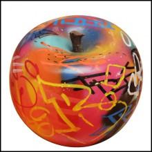 Sculpture in handcrafted ceramic PC-Apple Graffiti B