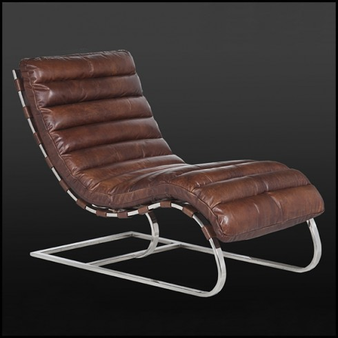 Swell Lounge Chair In Brown Or Black Genuine Leather On Polished Customarchery Wood Chair Design Ideas Customarcherynet