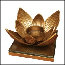 Tealight Holder with structure in vintage brass finish and clear glass 24-Water Flower
